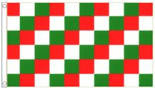Red White & Green Checkered 5'x3' (150cm x 90cm) Flag